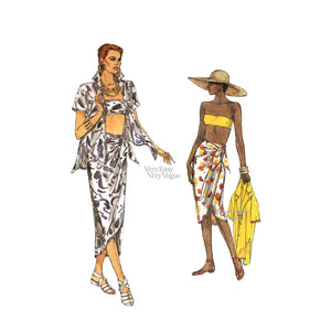 Beachwear Sewing Pattern, Vogue 9298, Shirt, Sarong Skirt & Bandeau Top