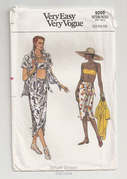 Vogue 9298, Shirt, Sarong Skirt & Bandeau Top Patterns