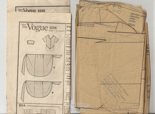 Beachwear Sewing Pattern, Vogue 9298, Shirt, Sarong Skirt & Bandeau Top, Bust 34, 36, 38