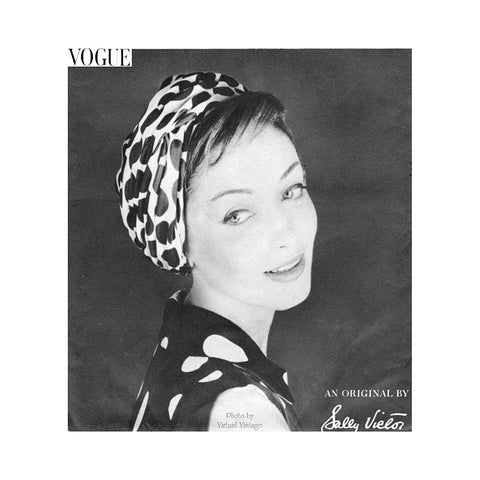 Vintage Turban Pattern, Vogue 9439, Sally Victor Hat Sewing Pattern