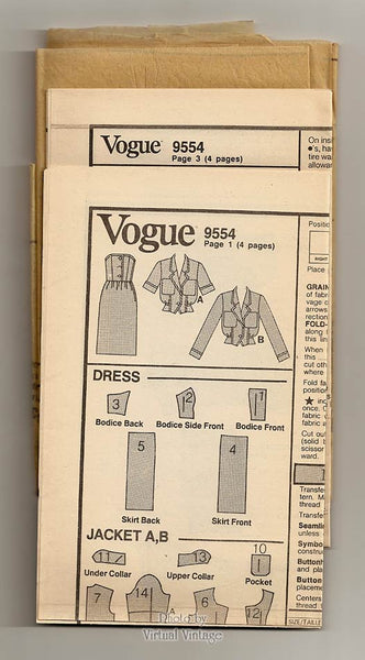 80s Strapless Dress Pattern, Vogue 9554, Womens Jacket & Dress Vintage Sewing Pattern, Uncut