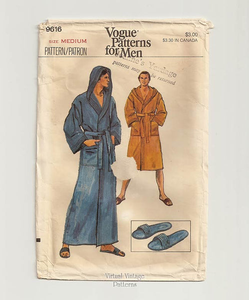 Vogue 9616 Mens Hooded Robe Pattern with Slippers