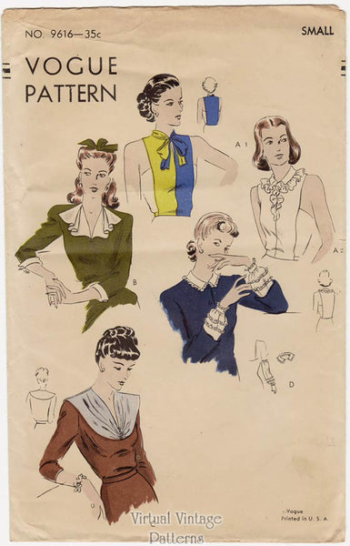 1940s Vogue 9616, Collars, Cuffs, and Dickey Patterns