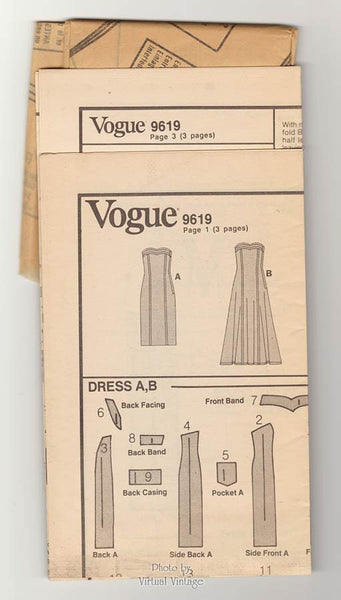 1980s Strapless Dress Pattern, Vogue 9619, Flared or Sheath Dress Sewing Pattern, Uncut, Size 6 8 10