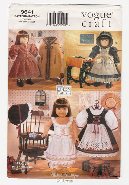 Vogue Doll Collection 9641, 18 Inch Doll Clothes Pattern