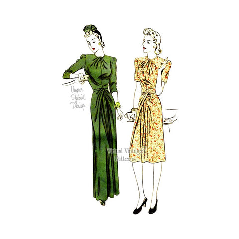1940s Evening Dress Pattern, Vogue Special Design S-4274