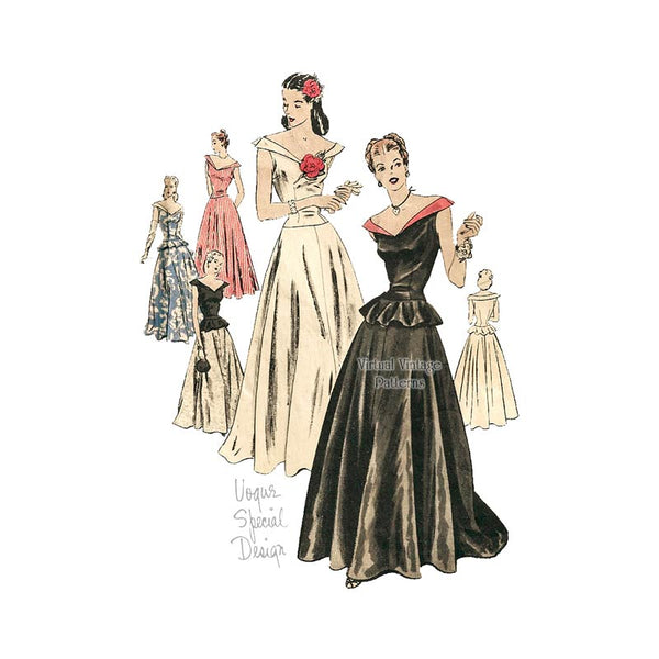 1940s Evening Gown Pattern, Vogue Special Design S-4601