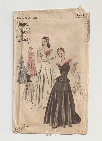 Vogue Special Design S-4601, 1940s Evening Dress Pattern