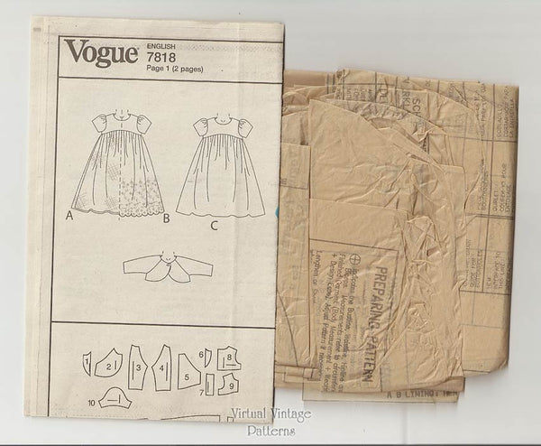 Baby Girl Dress Pattern, Vogue V7818, Infant Jacket & Dress, Size Newborn Small Medium
