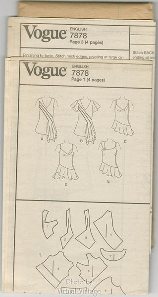 Sleeveless Tunic Sewing Pattern Vogue V7878, Asymmetrical Summer Tunic Tops, Size 6 8 10, Uncut