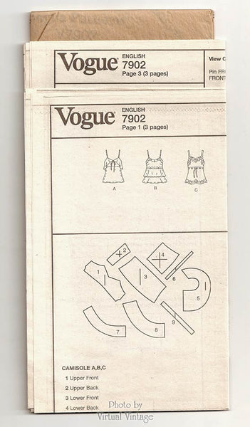 Vogue V7902, Camisole Top Pattern, Bust 34 36 38, Uncut Cami Top Sewing Patterns