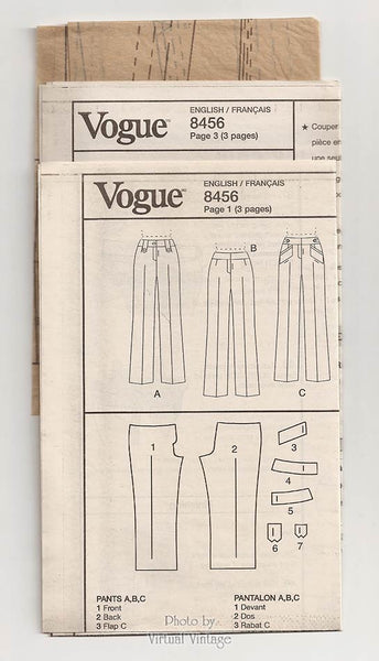 Easy Pants Pattern for Women, Vogue V8456, Womens Straight Leg Low Rise Pants, Sizes 6 8 10 12 Uncut