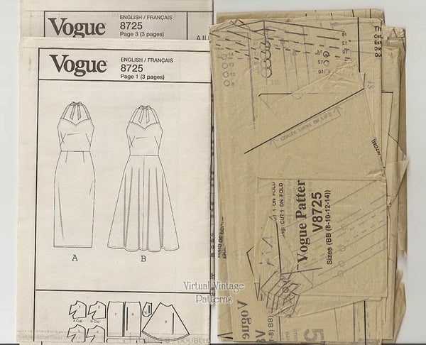 Easy Halter Dress Pattern, Vogue V8725, Sleeveless Sundress Sewing Pattern, Bust 31 1/2 to 36