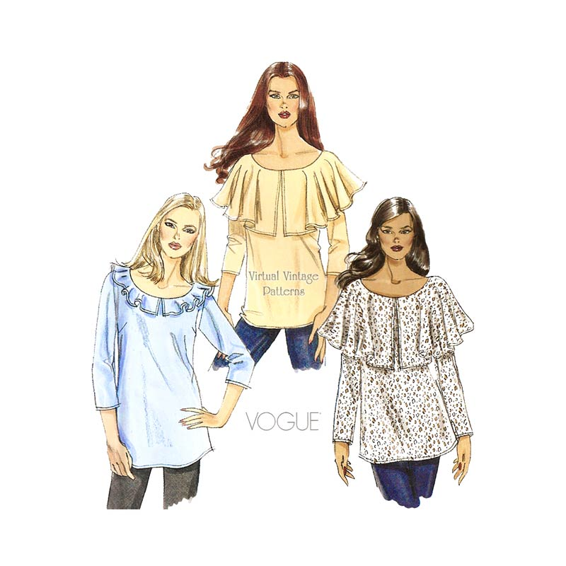 Ruffle Blouse Sewing Pattern, Very Easy Vogue V8745