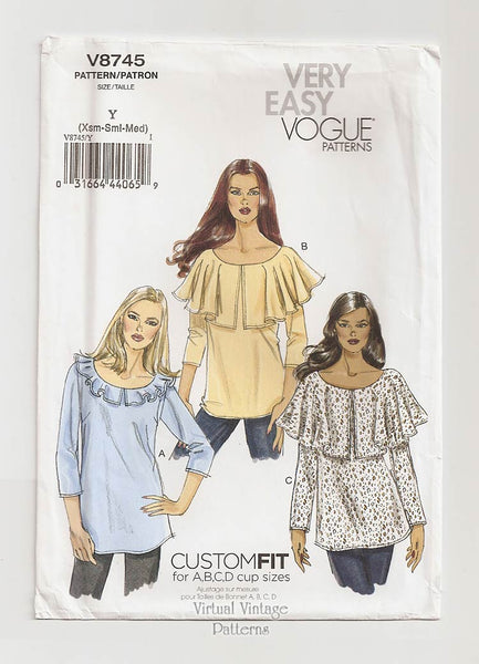 Very Easy Vogue V8745, Ruffle Blouse Sewing Pattern