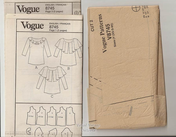 Ruffle Blouse Sewing Pattern, Very Easy Vogue V8745, Sizes 4, 6, 8, 10, 12, 14, Uncut