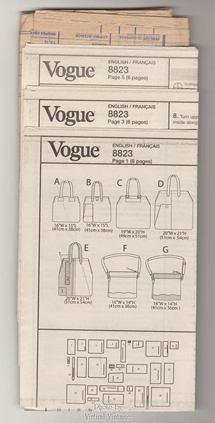 Women's Tote Bag Pattern Vogue V8823, Handbag, Carry All, Purse Sewing Patterns, Uncut