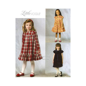 Easy Girls Dress Pattern, Little Vogue V9042