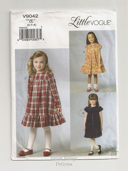 Little Vogue V9042, Easy Girls Dress Pattern