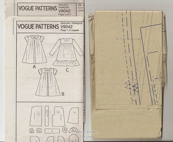 Easy Girls Dress Pattern, Little Vogue V9042, Sizes 6 7 8, Uncut