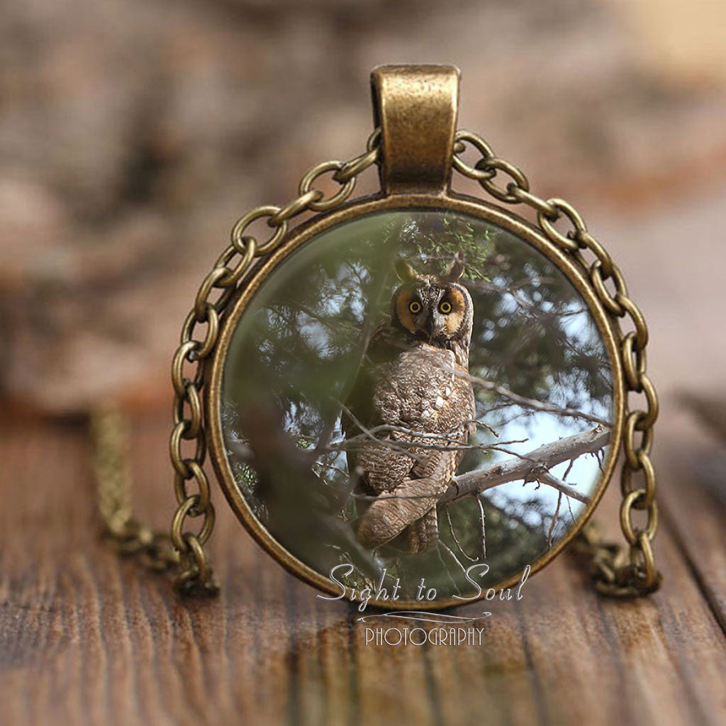 Long Eared Owl Pendant Necklace, Bird Lover Gifts, Owl Jewelry