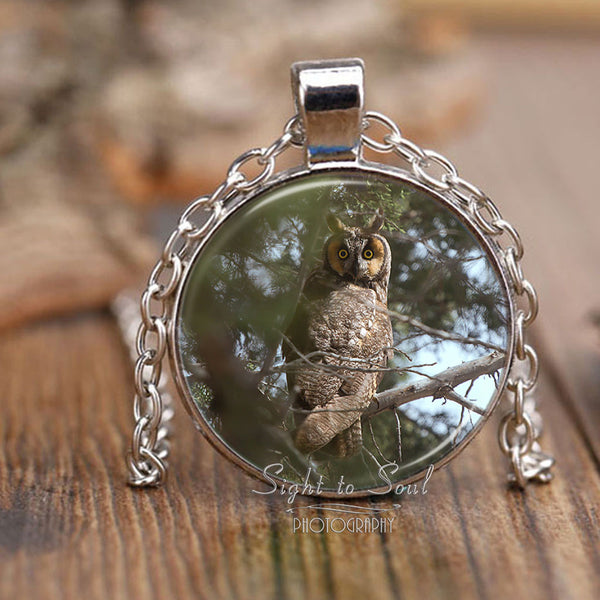 long eared owl photo necklace, bird lover gifts