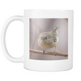 Cute bird mug with Ruby Crowned Kinglet
