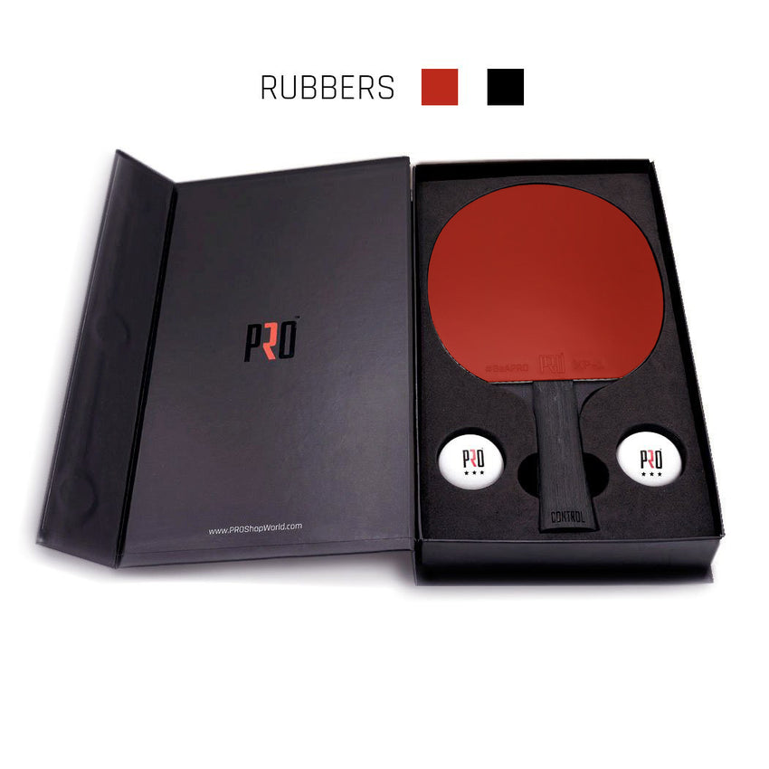 PRO Control Ping Pong paddle with red and black rubbers