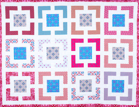 Versa-Block© completed quilt in the Girls Festival colour-way