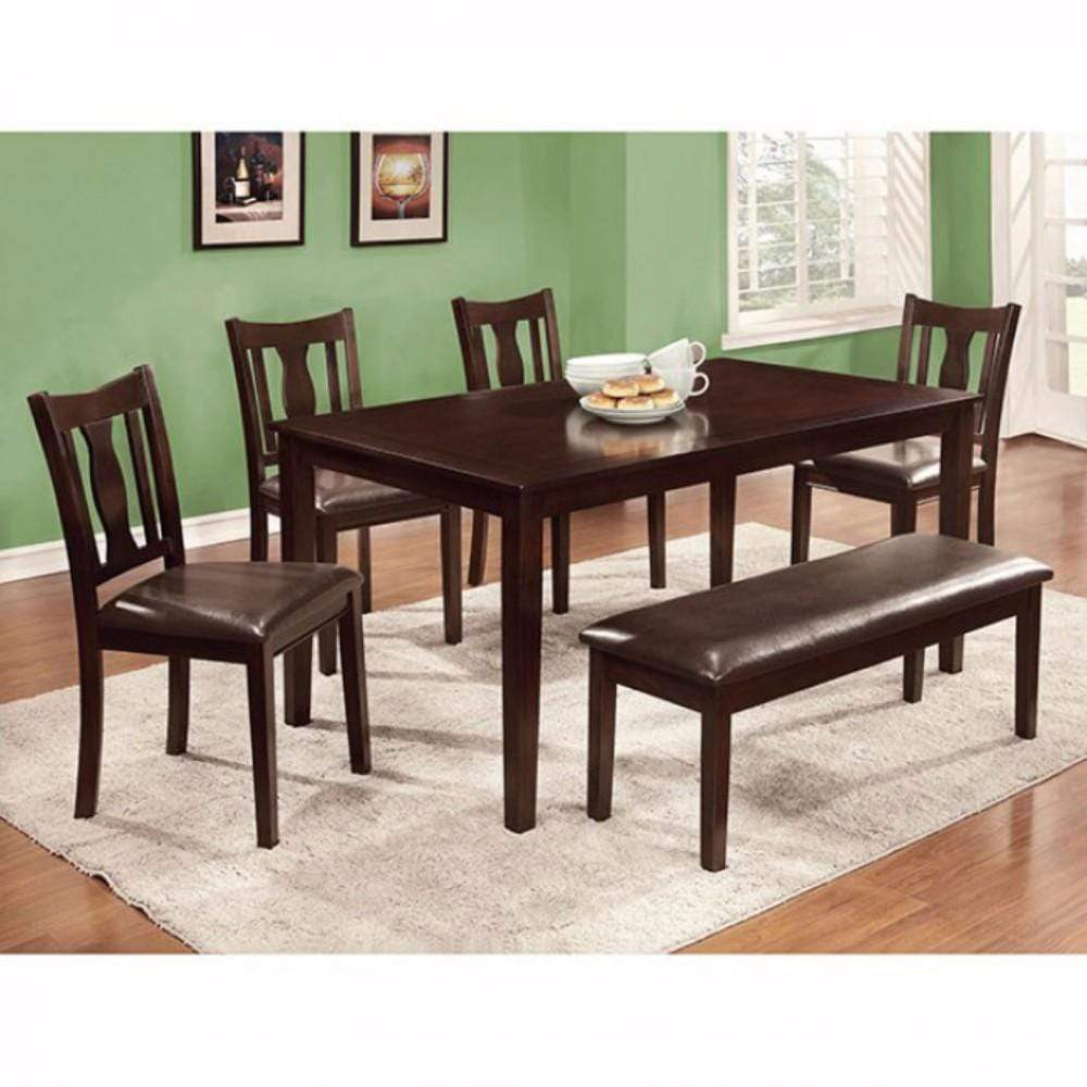 Accent Chairs 6Pc Dining Table Set, Chair with Pu Cushion, Expresso Finish 842822161572 HR302989