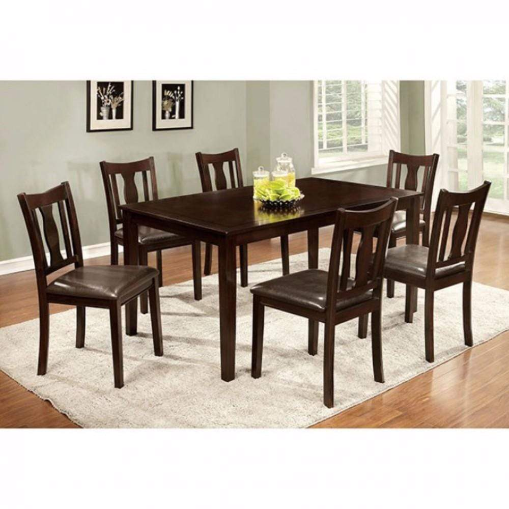 Accent Chairs 7Pc Dining Table Set, Chair with Pu Cushion, Expresso Finish 842822161589 HR302990