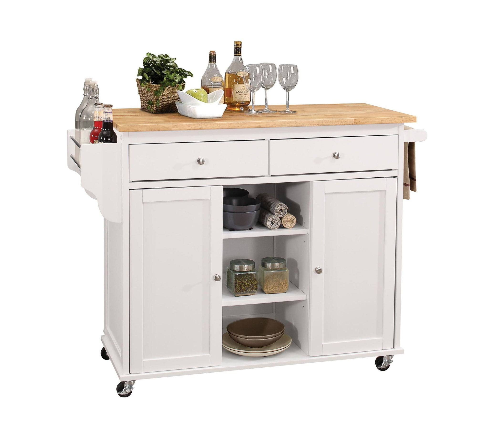 Benches & Carts Kitchen Island In Natural And White - Rubber Wood, Mdf Natural And White 689211811744 HR286672