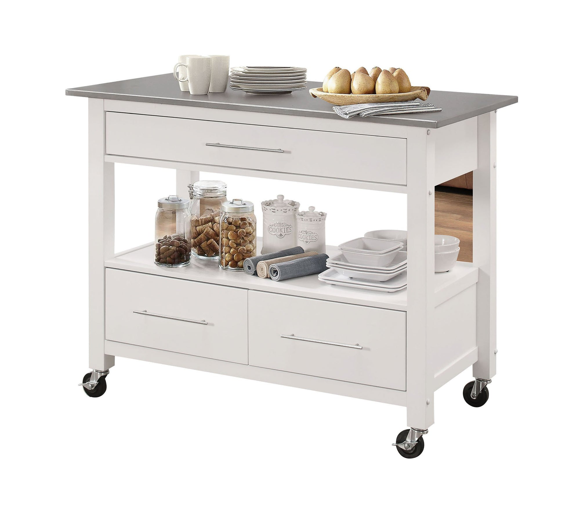 Benches & Carts Kitchen Island In Stainless Steel And White - Stainless Steel, Rubber W Stainless Steel And White 689211813458 HR286679