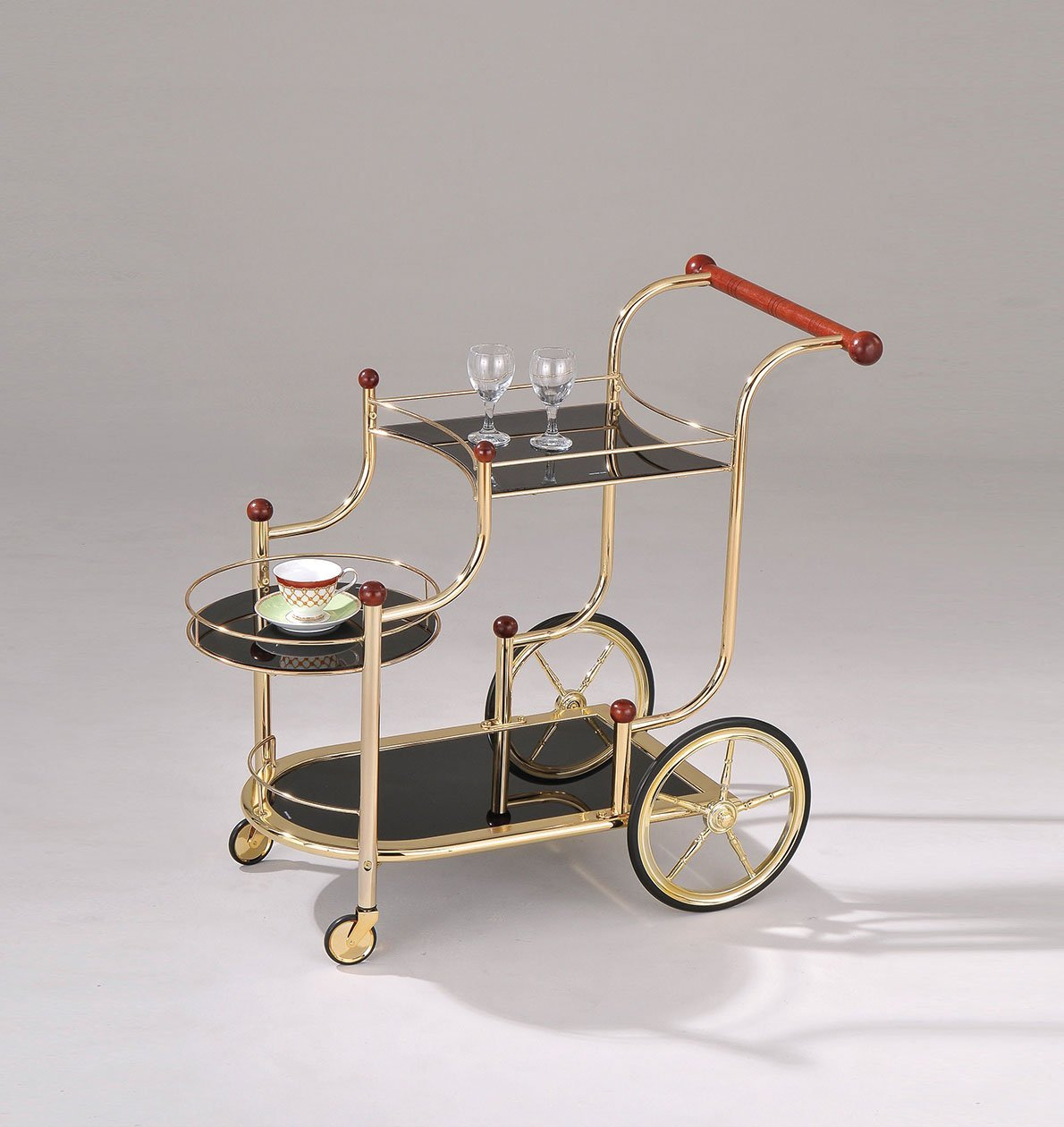 Benches & Carts Serving Cart, Golden Plated & Black Glass - Metal, Glass, Rubber Wood Golden Plated & Black Glass 689211811782 HR286124