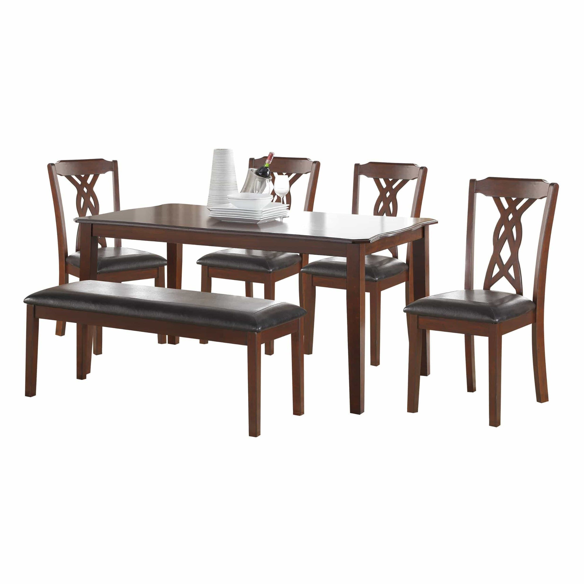 Dining Table sets 6 Piece Dining Set In Black Leatherette And Espresso 614486164042 HR318941