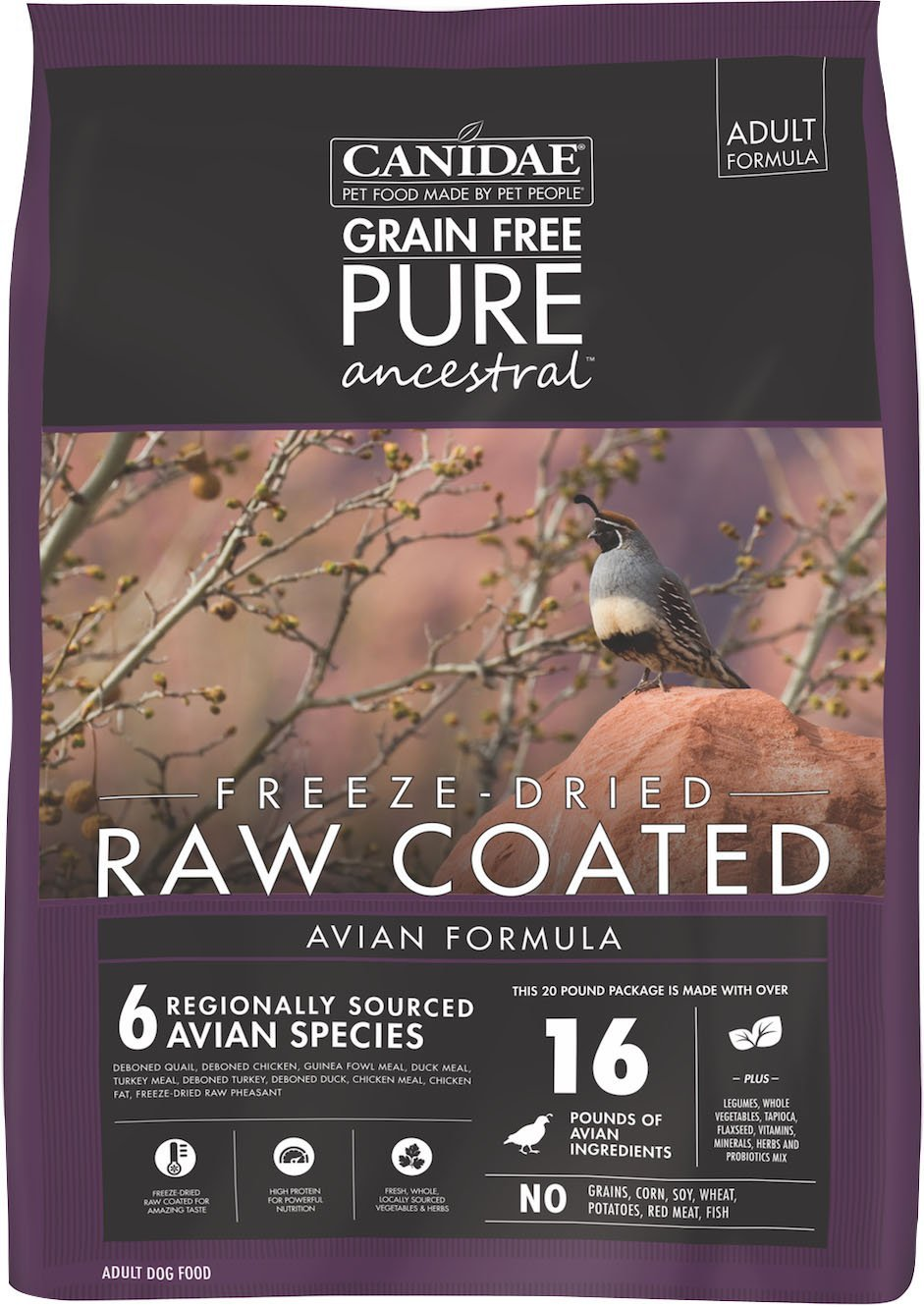 Dog Food Canidae Pure Ancestral Raw Coated Avian Dry Food 640461018505 TP012198