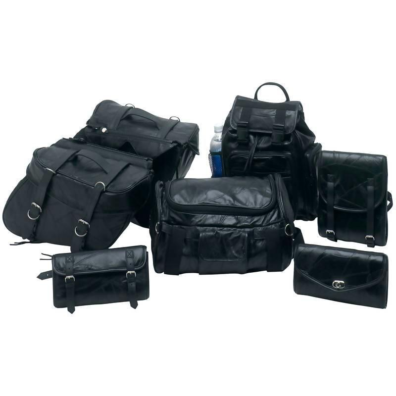 Motorcycle Accessories Iron Horse 7pc Rock Design Genuine Buffalo Leather Motorcycle Luggage Set 024409016332 BFLUMSET