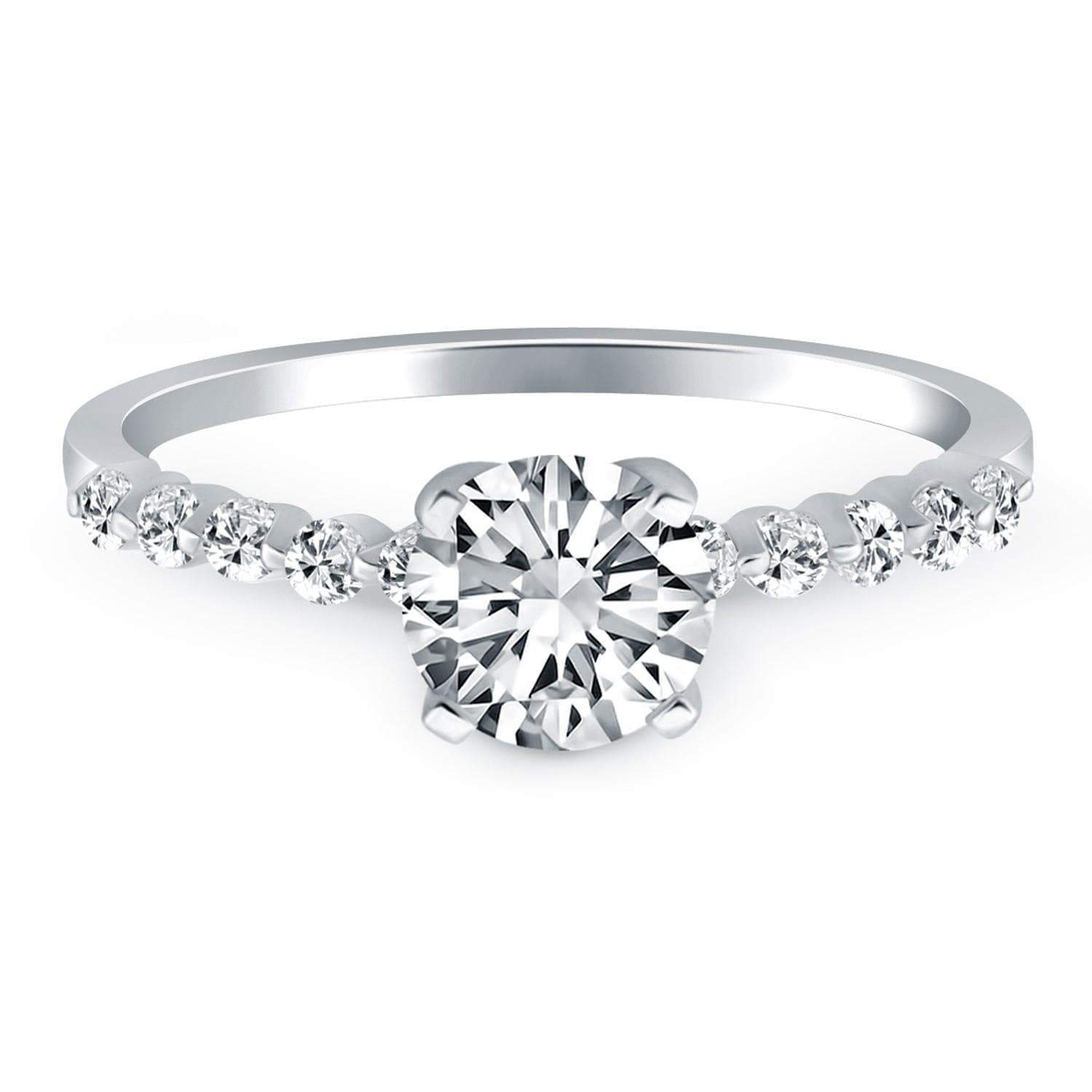 Wedding & Engagement Jewelry 7.5 14k White Gold Diamond Engagement Ring with Shared Prong Diamond Accents RJ86403-7.5