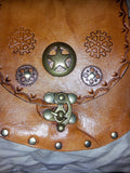 "Steampunk Style Leather Belt Pouch 6.5"" x 6.5"" x 1.5"""