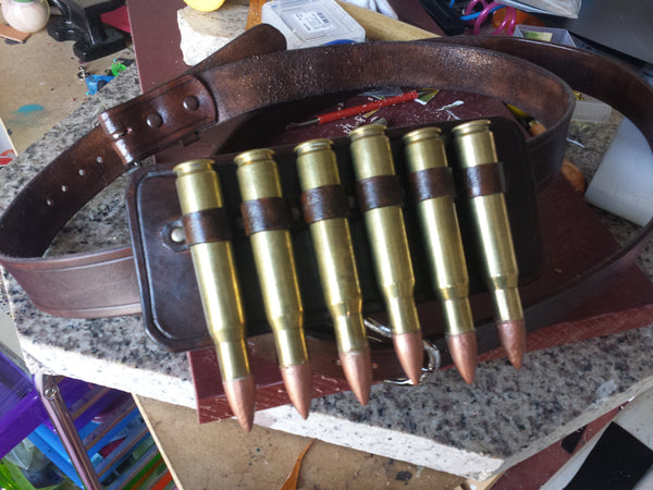 Cosplay / Steampunk Ammo Holder with Ammo / 50cal shells used / Shell Tips Made to Order / Metallics , Vivid colors, or LED ILUMINATED !!!