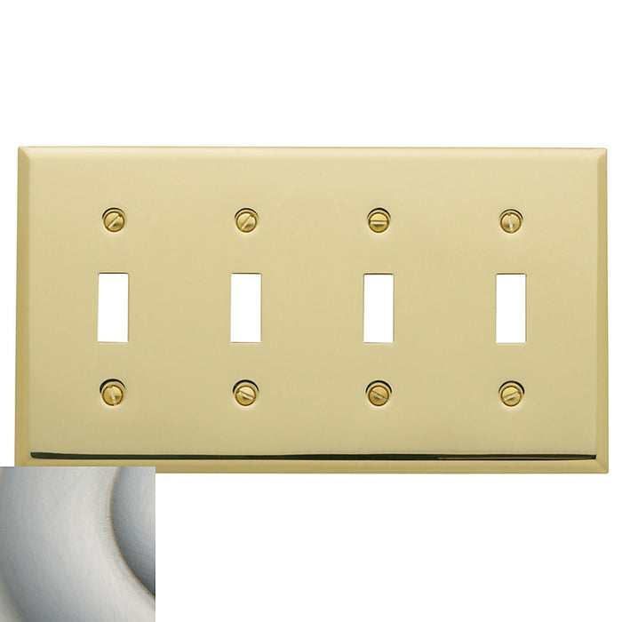 Baldwin 4772 Quadruple Toggle Beveled Switch Plate - Barzellock.com