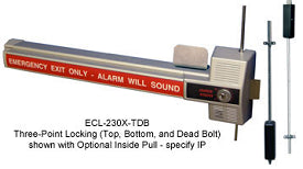 Detex ECL-230X-TDB 3 Point Deadbolt Alarmed Panic Device