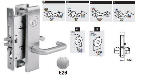 Dorma M9040 Privacy, Bedroom or Bath Mortise Lever Lock