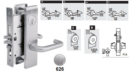 Dorma M9956 Corridor with Dead Bolt Mortise Lever Lock - Barzellock.com