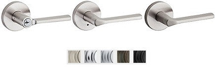 Kwikset Lisbon Lever With Round Rose Lock Passage, Privacy, Entrance & Dummy