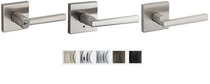 Kwikset Montreal Lever With Square Rose Lock Passage, Privacy, Entrance & Dummy