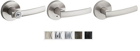 Kwikset Sydney Lever With Round Rose Lock Passage, Privacy, Entrance & Dummy