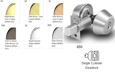 Sargent 486 Single Cylinder x Blank Deadbolt Grade 1 480 Series