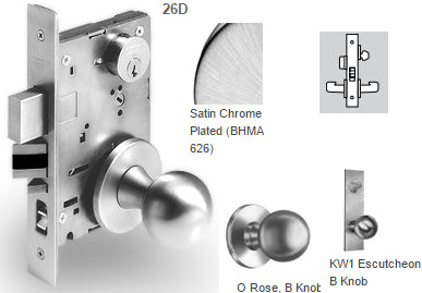 Sargent 7805 Office or Entry Mortise Knob Lock