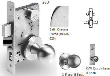 Sargent 7838 Classroom Security Intruder Latchbolt Mortise Knob Lock - Barzellock.com